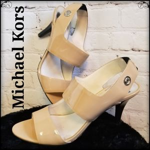 Michael Kors Strappy Neutral Patent Heels, Size 9